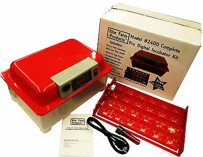 Red Rite Farm 2400 Pro Digital 96 Quail 24 Chicken Egg Incubator Kit Turner Fan