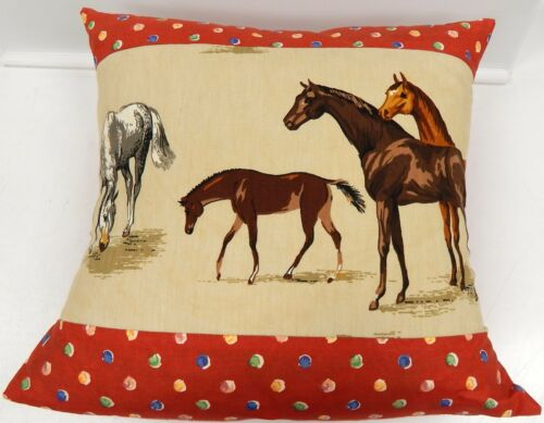 Handmade Pillow Cover Wild Horses Print Fabric by Cathy Wade of Kentucky 19""