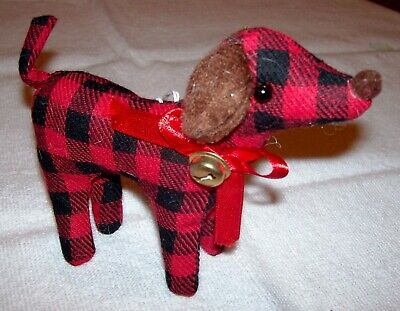 New Red Black Plaid Hound Dog Holiday Christmas Ornament Animal Pet Lover -