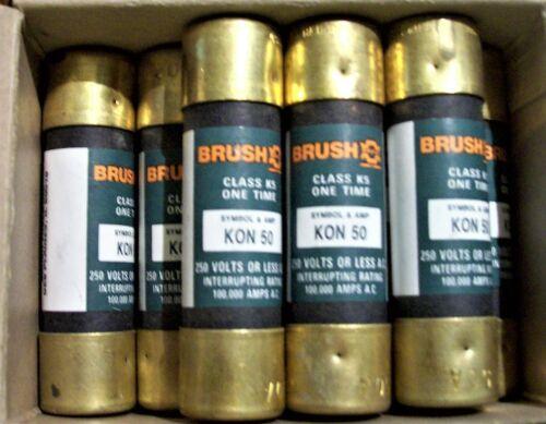 (8) Brush KON50 Fuses 50A 250V BRUSH KON50 NEW Free Shipping