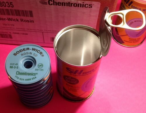 Chemtronics Solder SODER-WICK SW18035 #3 (.08) Can 10 Bobbins -Genuine USA Made!
