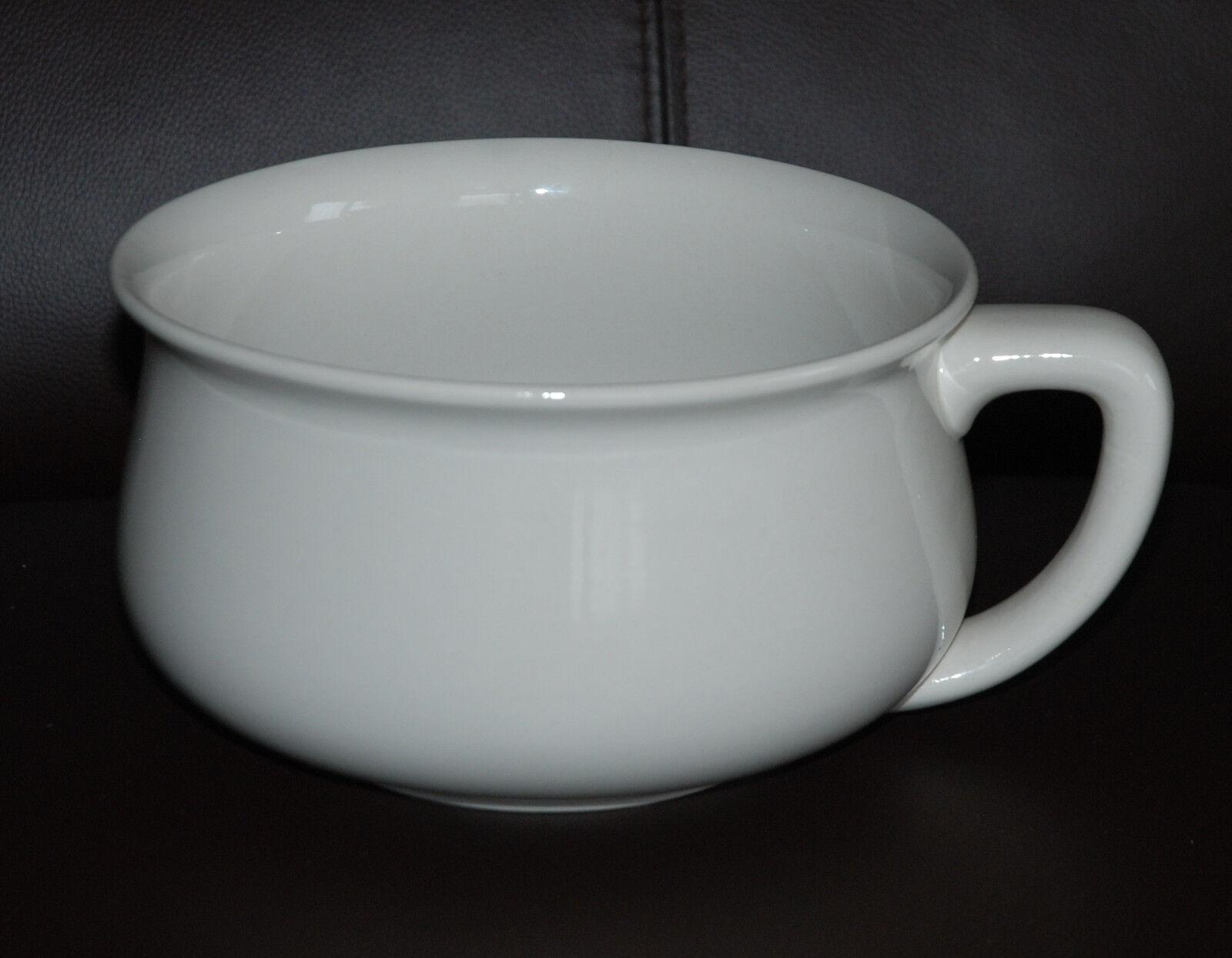 alter Nachttopf Keramik creme weiß formschön Durchm.18,5 Höhe ca.10 cm mit Stemp