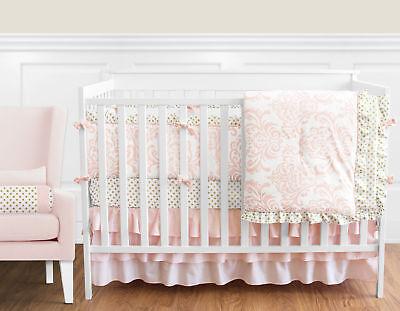 Sweet Jojo Blush Pink White Damask Gold Dot Girl Crib Baby Bedding Comforter Set ()