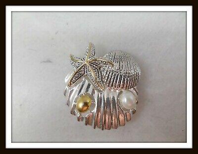 Vintage BEST Silver-tone & Gold-tone Seashell Brooch w/Faux Pearl Detail