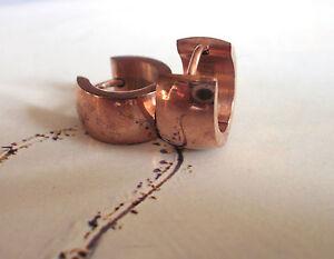 Edelstahl Damen Ohrringe Ohrhänger Klapp Creole Farbe Rose Gold - plattiert 0944