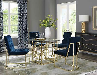 NEW Dining Room 5 piece Round Glass Top Metal Base Table & Blue Chairs Set IN75