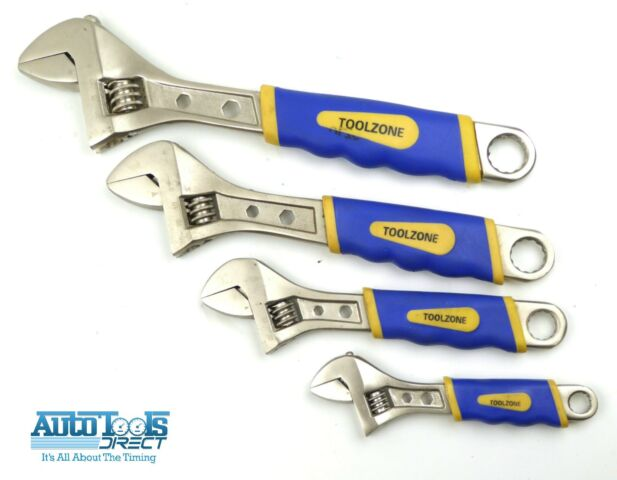 AK9935 Sealey Adjustable Wrench Set 4pc Ni-Fe Finish Adjustable Wrenches