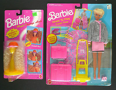 BARBIE 1991 DRESS N PLAY TRAVEL TIME and 1994 MAGIC CHANGE HAIR NRFB 2 sets