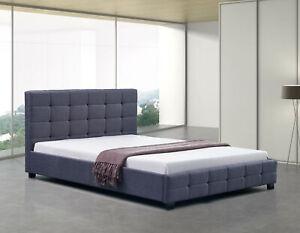 Rueben Deluxe Queen Bed Frame Grey Linen Fabric