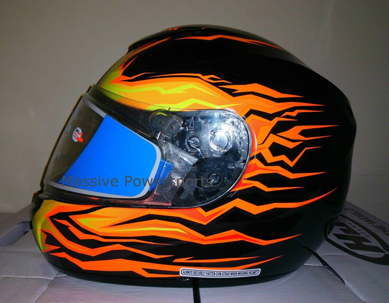 HJC CS-R2 Frameless Snowmobile Helmet Orange Flame XS S M L XL 2XL