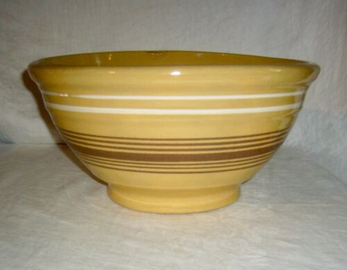 ANTIQUE PRIMITIVE EARTHENWARE JEFFORDS MOCHA BAND YELLOWWARE YELLOW WARE BOWL