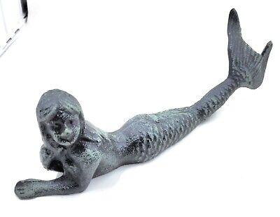 Cast Iron Laying Mermaid Statue Figurine Verdigris Nautical Bathroom Ocean Decor