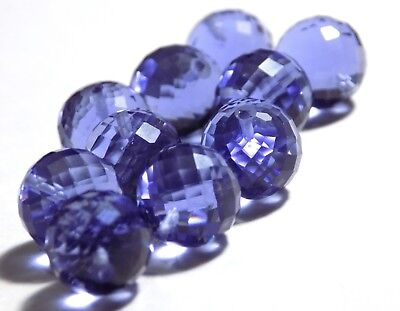 Iolite Gem Hydro Quartz Faceted Round Balls Beads Top Half  Drill 10x10mm 10 (Faceted Top Drill)