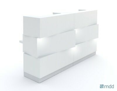 Mdd Zen Modern White Reception Desk With Lighting