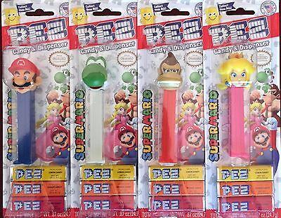 PEZ - 2017 Nintendo - Mario Yoshi Donkey Kong Princess Peach - Set of 4  - MOC