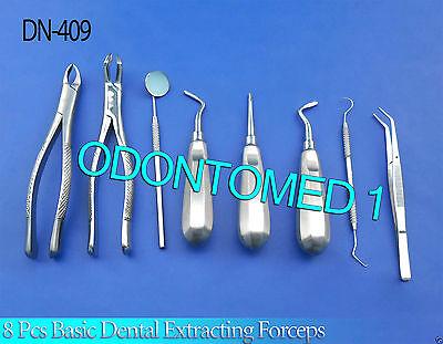 8 Pcs Basic Dental Surgery Extracting Forceps 15088r Elevators Set Dn-409