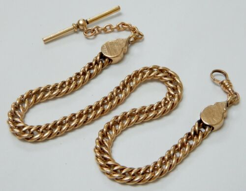 Antique Victorian Hardy Gold Filled Curb Link Pocket Watch Fob Chain