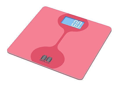 Skallo Jolie Pink 400 Lbs Digital Glass Step On Fit Bathroom Weight Body Scale