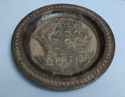 VINTAGE CARVED WOODEN PLATE - YUGOSLAVIA OPATIJA SHIP