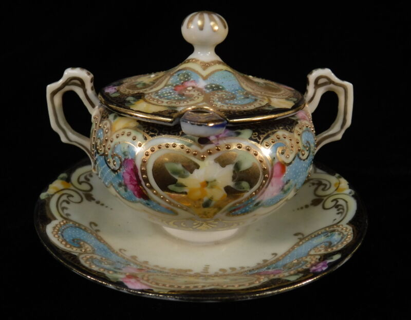 VTG Hand Painted Porcelain Sugar Bowl With Spoon & Lid Roses w/ Gold & Pastels