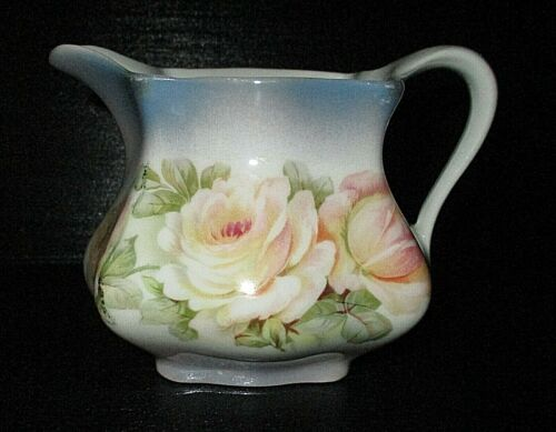 LOVELY HAND PAINTED ROSES on PORCELAIN PITCHER/CREAMER, GERMANY