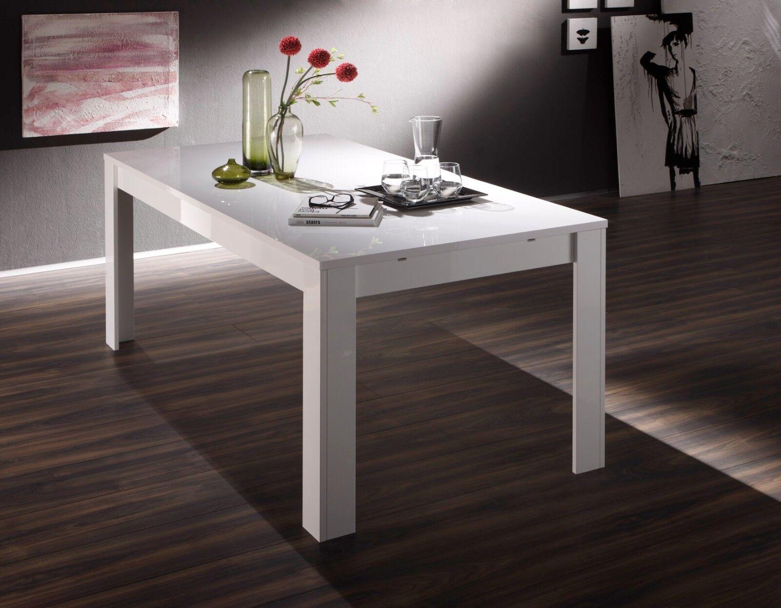 Tavolo da pranzo fisso allungabile moderno Amalfi bianco lucido sala soggiorno
