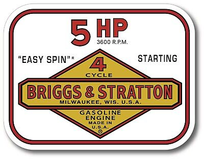 Vintage Briggs Stratton Easy Spin 5 Hp Small Engine 4 X 3 Sticker Decal