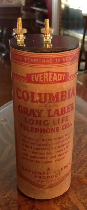 Antique Refillable #6 Columbia Gray Dry Cell Battery Telephone, Radio, Lantern