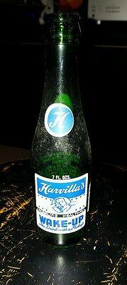 Vintage Harvilla's Wake Up Glass Bottle Soda Pop Minersville, Pa