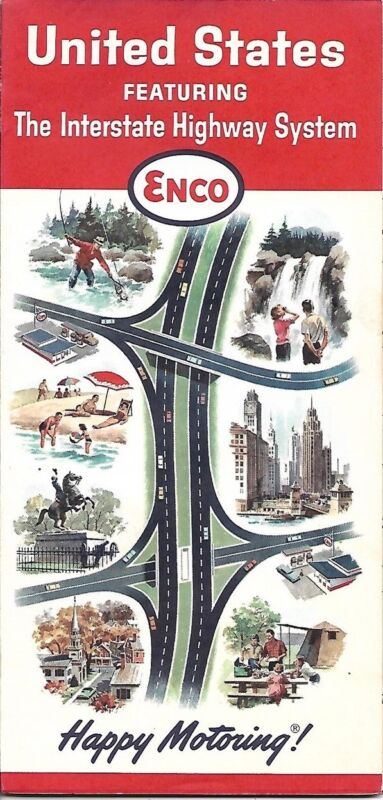 1964 ENCO HUMBLE OIL Interstate Road Map UNITED STATES Florida Texas California