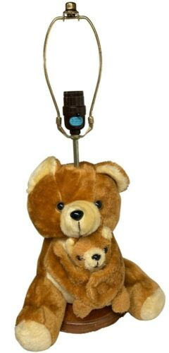 Vintage RMJ Teddy Bear Plush Lamp Mama Bear Holding Removeable Cub 1980s Nursery
