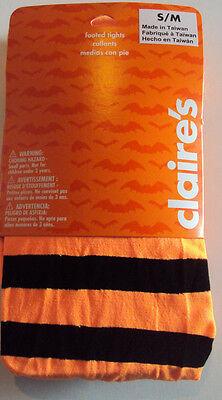 Womens Claire's Brand Orange & Black Nylon Striped Halloween Tights Size S/M - Halloween Orange Striped Tights