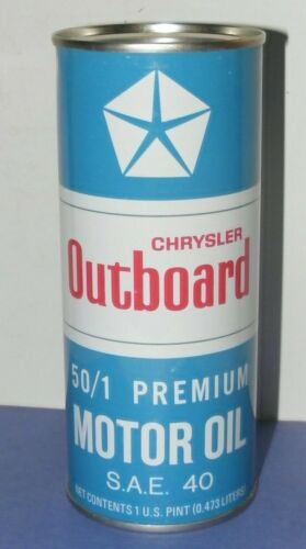 MOTOR OIL CAN Bank CHRYSLER OUTBOARD PRIEMUM UNUSED VINTAGE 1970