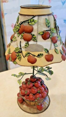 Home Interiors Metal Apple Tree/Basket Votive Candle Lamp