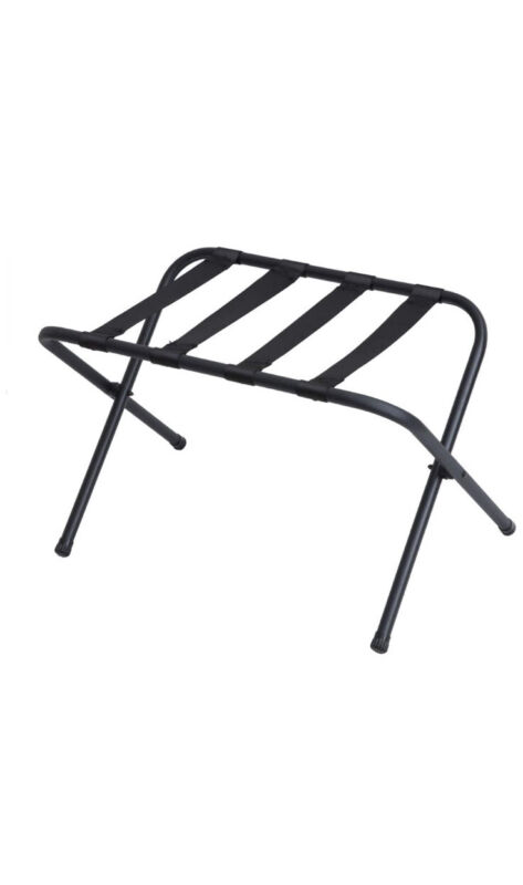 - Black Metal Foldable Luggage Rack Stand with Nylon Belts