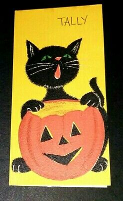 Vintage *UNUSED* Halloween Tally Card: Black Cat & J-O-L *1960's* Hallmark