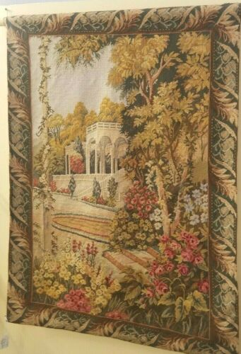 """SUPERIOR ORIGINAL ANTIQUE HAND-WOVEN FRENCH TAPESTRY VINTAGE WOOL 34"""" x 47"""""""
