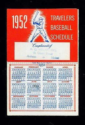 1952 American League   National League Mlb Baseball 6 Fold Schedule