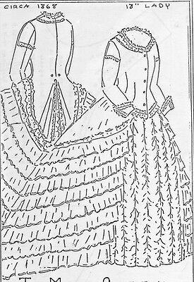 """18""""ANTIQUE FRENCH FASHION LADY DOLL@1868 RUFFLE DRESS/TRAIN UNDERWEAR PATTERN"""