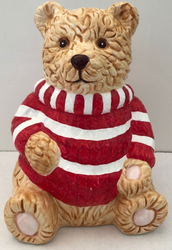 Ceramic Tan Teddy Bear with Red Stripped Shirt Coin Bank
