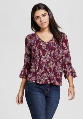 New Xhilaration Womens Size XL Long Sleeve Smocked V-Neck Top Floral Print -
