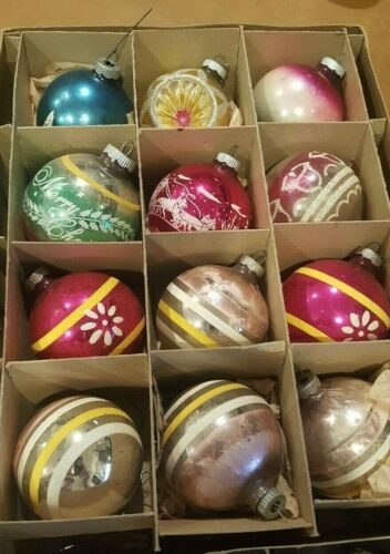VINTAGE LOT OF 12 SHINY BRITE STENCILED  STRIPED CHRISTMAS ORNAMENTS ...