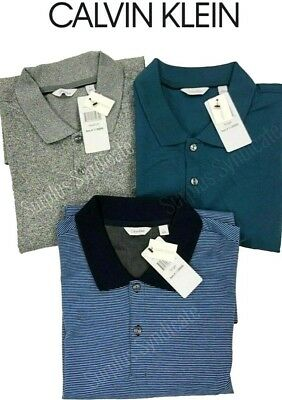 New Calvin Klein Men's 100% Cotton Liquid Touch Polo Shirt Various Color Sizes