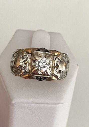 SOLID 10K YELLOW GOLD SOLITAIRE DIAMOND MASONIC SCOTTISH RITE 32ND DEGREE RING