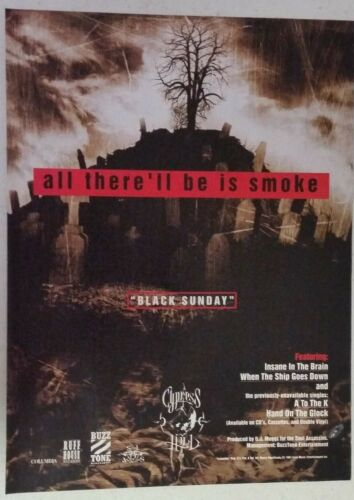 "CYPRESS HILL ""Black Sunday"" Full Page PRINT AD magazine clipping 1993"