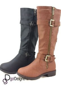 NEW Women's Fashion Shoes Knee High Riding Flat Boots Cowboy Slouch Military HOT