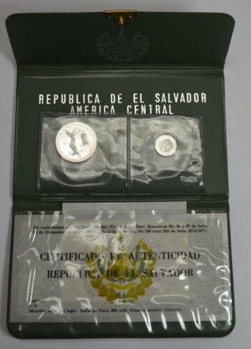 1971 Republica De El Salvador Silver 1&5 Colones Proof Two Coins Set Rare w/ CoA