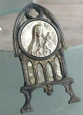 Sainte Bernadette Small Frame Metal and Galalite Medal Metal Silver
