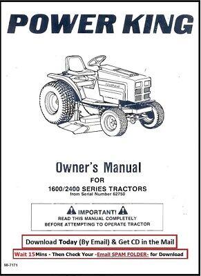 1985 Power King Garden 1600-2400 Series Tractor 14 17 Hp Engines Operator Manu