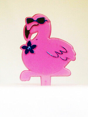 12 Pink Flamingo Luau Cupcake Toppers Picks Cake Decorations Party Favors - Luau Cake